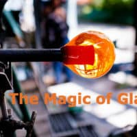 Close up image of glassblowing.