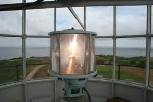 Close up photo of a lighthouse beacon