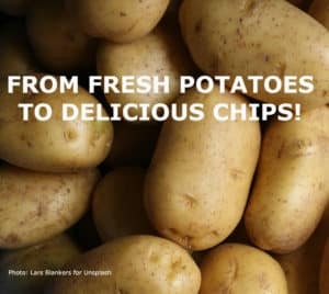 A pile of potatoes with the title: From fresh potatoes to delicious chips.