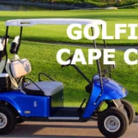 Photo of a golf cart with title: Golfing Cape Cod.